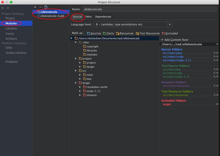 intellij module settings