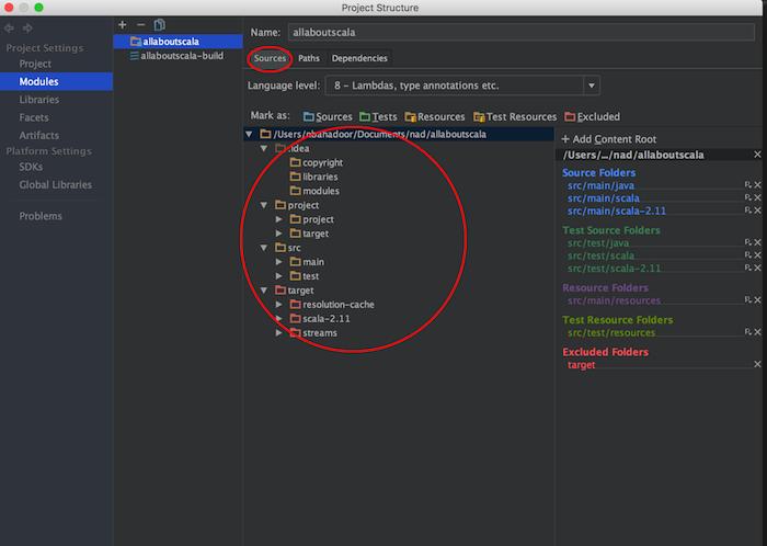 intellij module settings sources tab