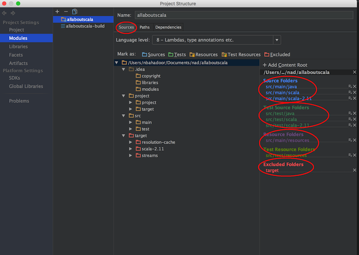 intellij sources tab selections