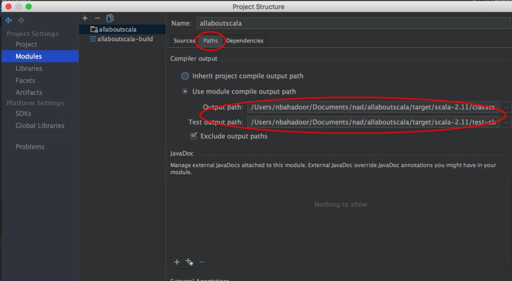 IntelliJ Project Structure - Scala Project Classpath