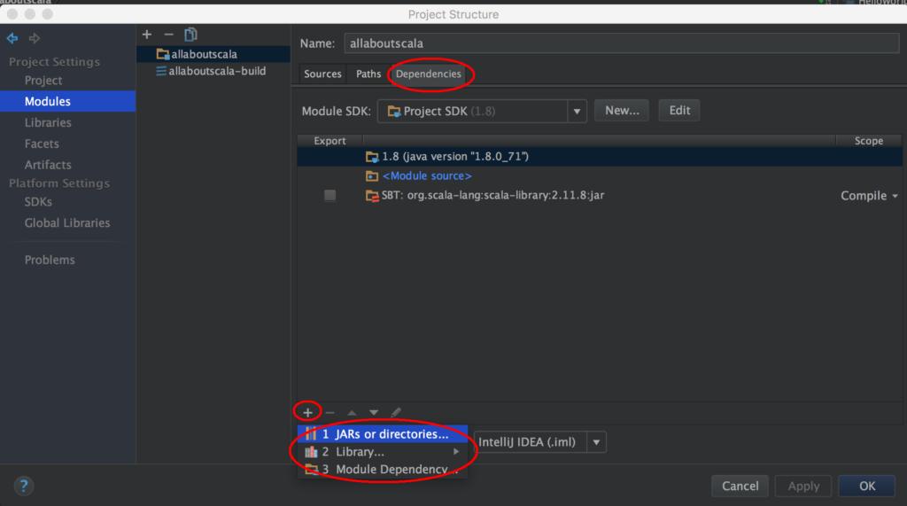 intellij module settings dependencies tab