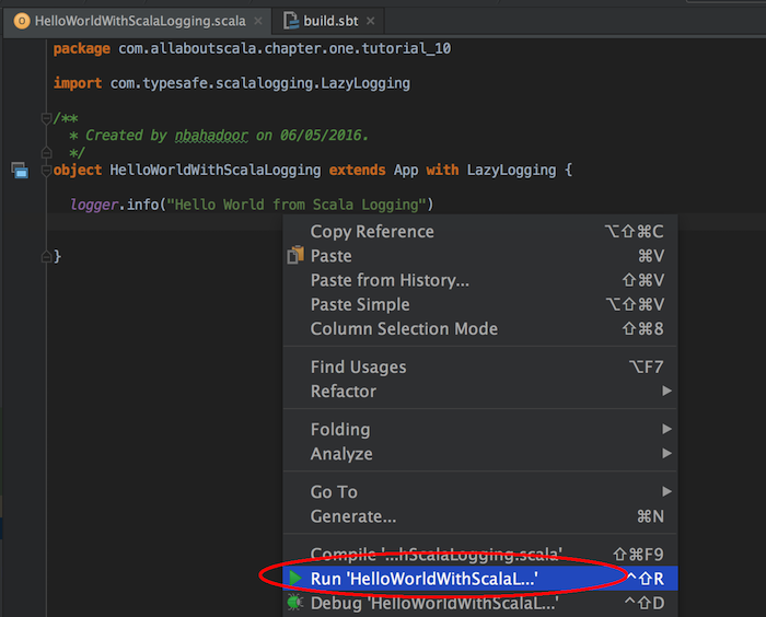 intellij import dependencies run scala application