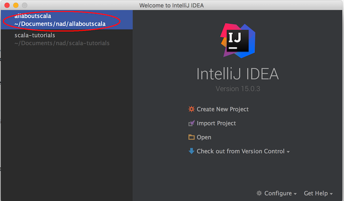 intellij open scala project