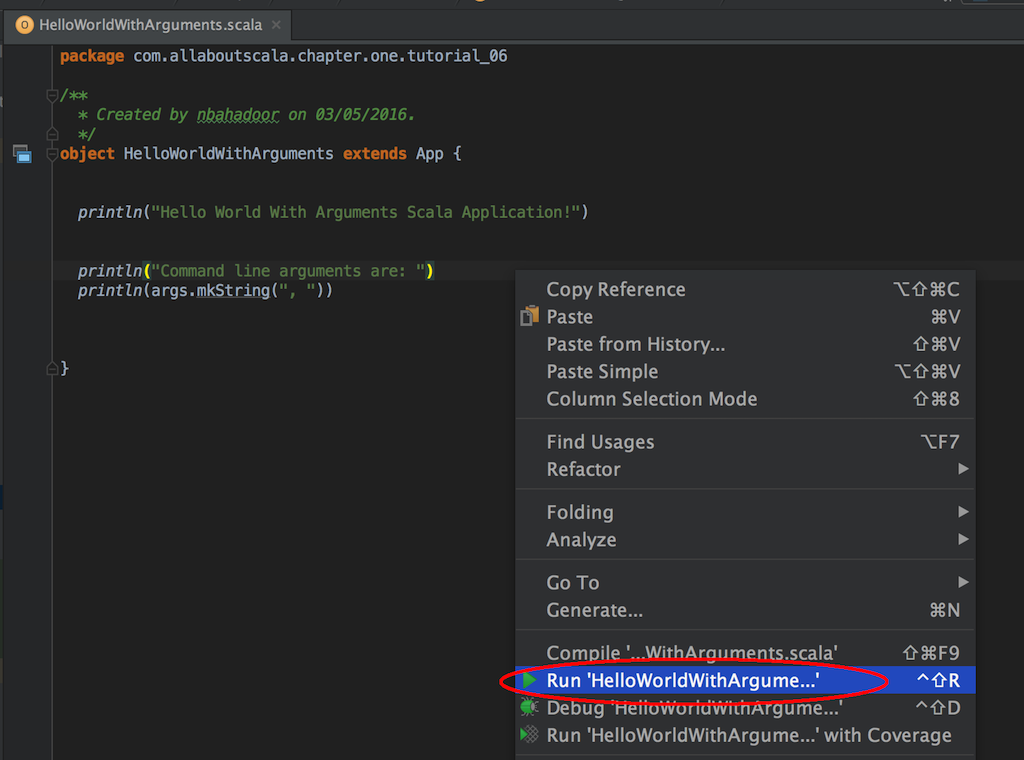 IntelliJ Run Configuration - Running Your Scala application
