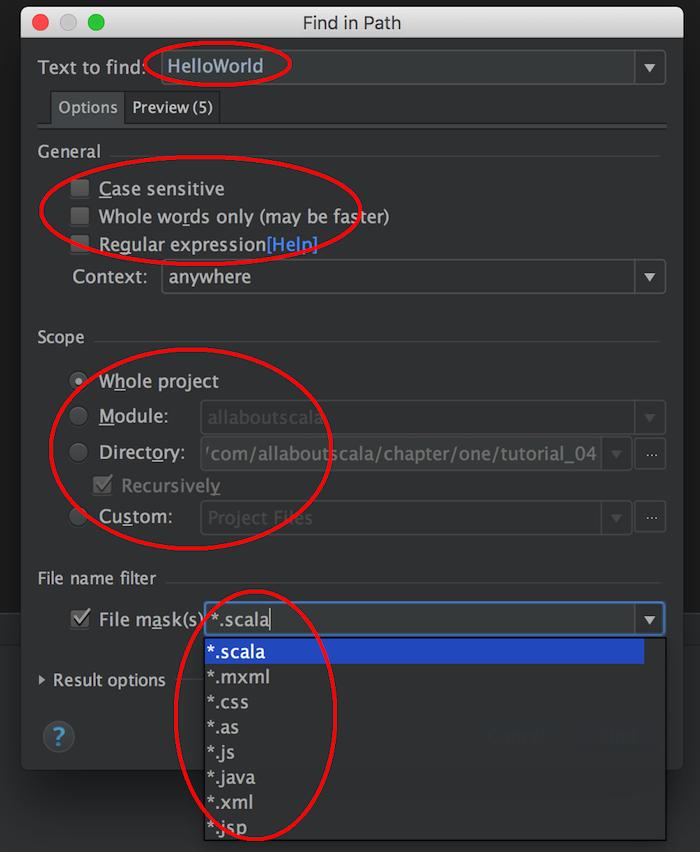 intellij search filters in a file