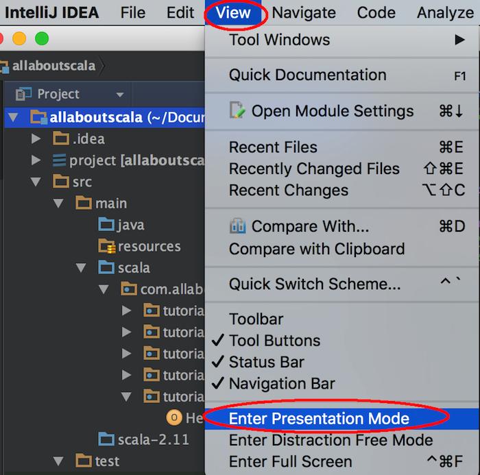 intellij settings preferences presentation mode